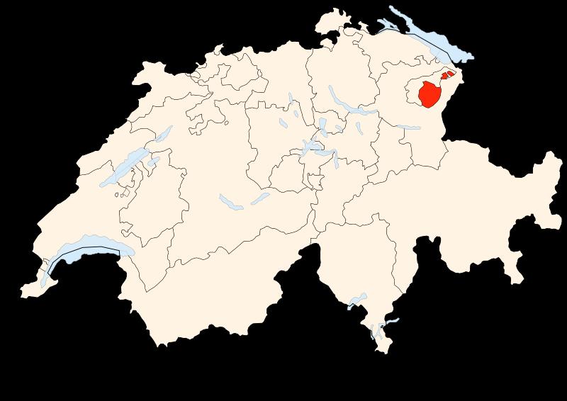 Appenzell Innerrhoden på en schweizisk karta