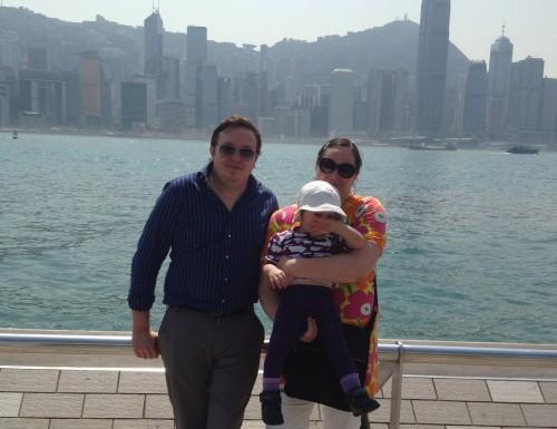 Familjen och Hongkong skyline