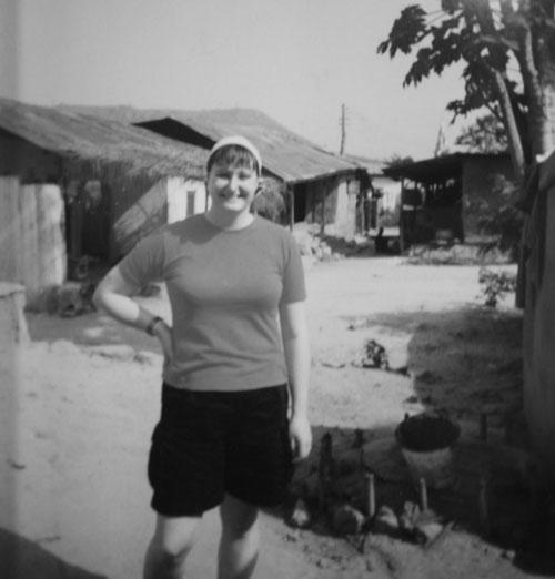Jag i en by i Ghana
