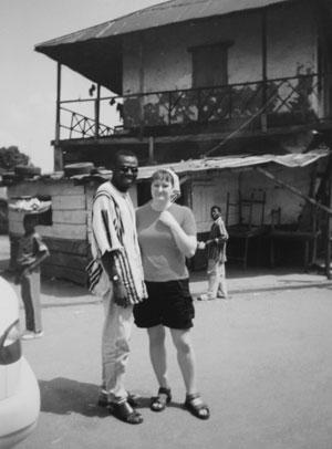 Jag i en liten stad i Ghana