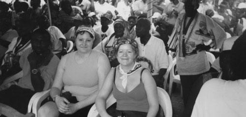 Jag och Anne-Lie på valmöte i Ghana